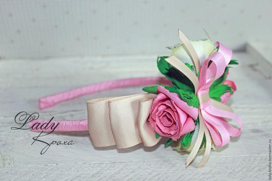 """Диадемы, обручи ручной работы. Ярмарка Мастеров - ручная работа. Купить Ободок """" Нежность"""" с розами для девушки.. Handmade. Розовый"""