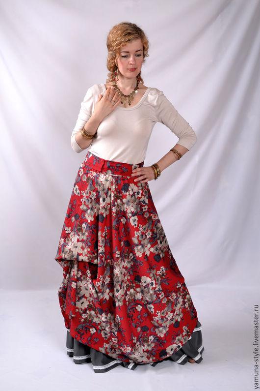 Юбки ручной работы. Ярмарка Мастеров - ручная работа. Купить Красная юбка-бохо из легкого летнего материала (70% хлопок).. Handmade.
