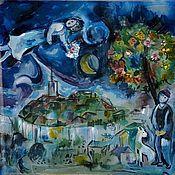 """Аксессуары ручной работы. Ярмарка Мастеров - ручная работа Батик платок """"Шагал"""". Handmade."""