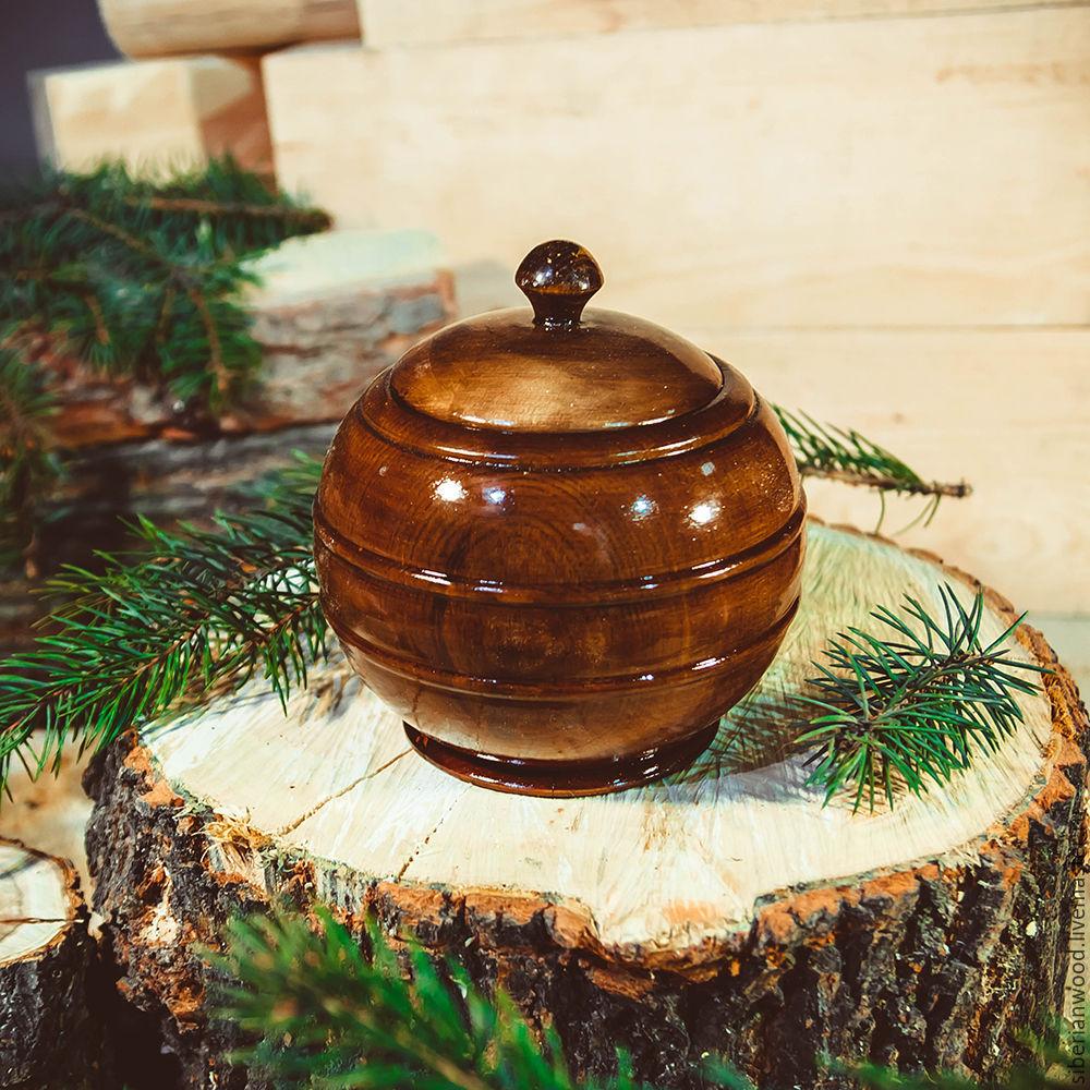 a jug with a lid from natural siberian cedar bowl with lid k35, Jars, Novokuznetsk,  Фото №1