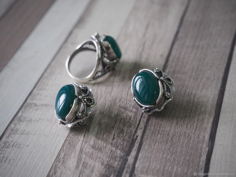 Earrings 'the Caroline' natural onyx, silver 925, Earrings, Kostroma,  Фото №1