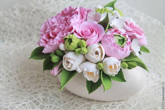 Цветы ручной работы. Ярмарка Мастеров - ручная работа. Купить Букет с тюльпанами. Handmade. Розовый, букет из полимерной глины, тюльпаны