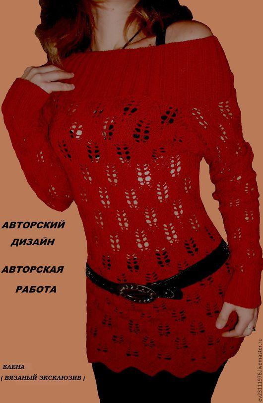 Платья ручной работы. Ярмарка Мастеров - ручная работа. Купить Авторское  вязаное платье - туника ОБРАЗЕЦ. Handmade. Коралловый, однотонный