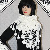 Аксессуары handmade. Livemaster - original item Knitted openwork scarf snowflake.. Handmade.