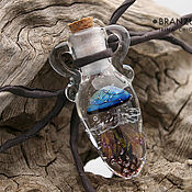 Украшения handmade. Livemaster - original item Jellyfish in jug - bottle pendant lampwork glass cork. Handmade.