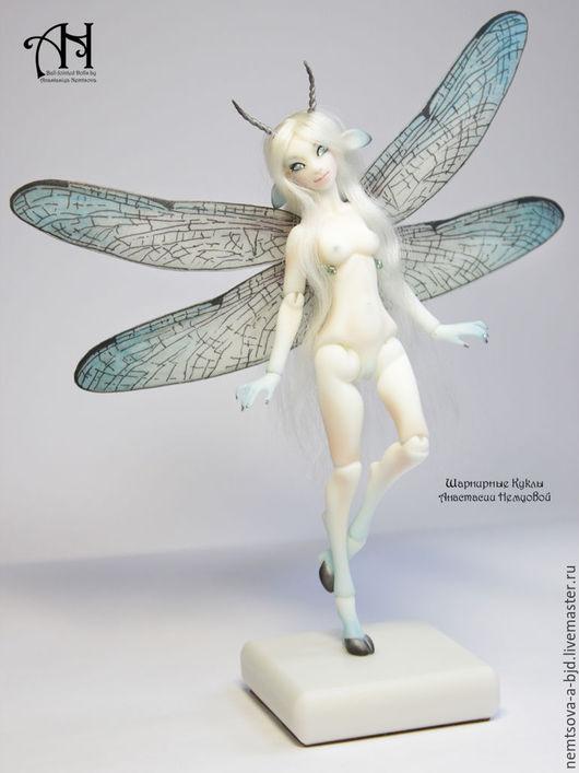 Коллекционные куклы ручной работы. Ярмарка Мастеров - ручная работа. Купить Голубая СтреКозочка (13 см). Handmade. Голубой, стрекозочка
