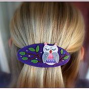Работы для детей, ручной работы. Ярмарка Мастеров - ручная работа Заколка для волос Совушка. Handmade.