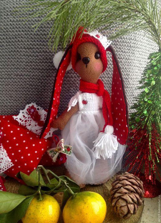 Игрушки животные, ручной работы. Ярмарка Мастеров - ручная работа. Купить Рождественские Зайки. Handmade. Бежевый, заяц текстильный, рождество