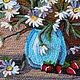 Картины цветов ручной работы. Картина ромашки полевые цветы в вазе объемные 40х40. Маскаева Ольга (maskaevadecor). Интернет-магазин Ярмарка Мастеров.