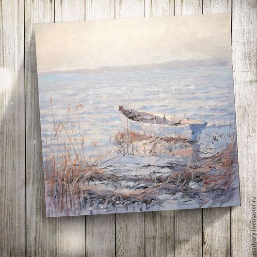 Пейзаж ручной работы. Ярмарка Мастеров - ручная работа. Купить картина акрилом Лодочка в зарослях (нежно-кремовый, васильковый, озеро. Handmade.