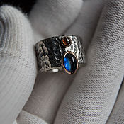 Украшения handmade. Livemaster - original item Ring: Kyanite and Tourmaline Ring. Handmade.