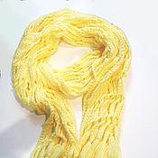 Аксессуары ручной работы. Ярмарка Мастеров - ручная работа Шарф демисезонный вязаный светло-желтый. Handmade.