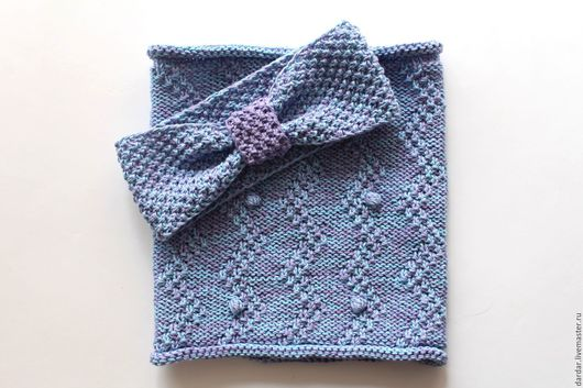 Шапки и шарфы ручной работы. Ярмарка Мастеров - ручная работа. Купить Комплект для девочки повязка и снуд хлопок. Handmade. Сиреневый