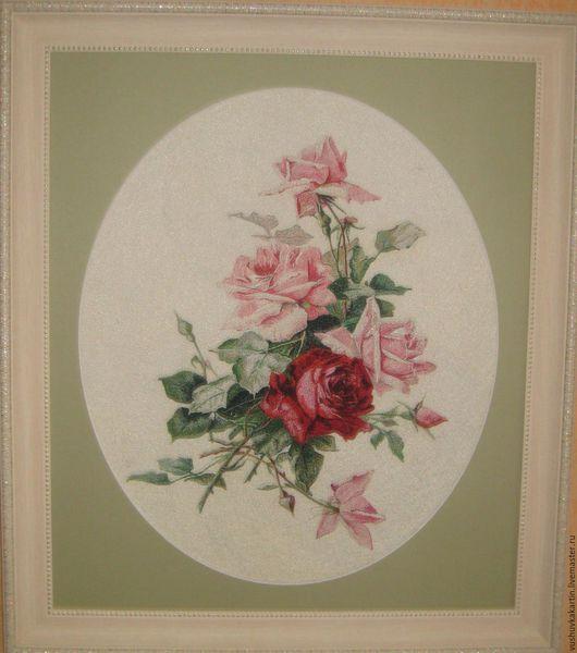 """Картины цветов ручной работы. Ярмарка Мастеров - ручная работа. Купить Картина """"Розы"""". Handmade. Бордовый, нежно-зеленый"""