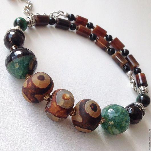 Колье бусы под шейку чокер ожерелье из Агата и бусина Дзи купить в подарок женщине девушке подруге украшение на шею из натуральных камней