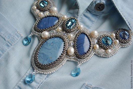 """Колье, бусы ручной работы. Ярмарка Мастеров - ручная работа. Купить Колье """"Denim"""". Handmade. Голубой, swarovski, джинса, синий"""