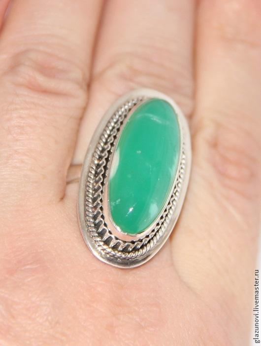 Кольца ручной работы. Ярмарка Мастеров - ручная работа. Купить Серебряное кольцо (925) с хризопразом (Казахстан). Handmade. Зеленый
