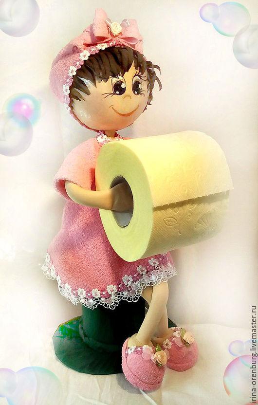 Ванная комната ручной работы. Ярмарка Мастеров - ручная работа. Купить Держатель для туалетной бумаги. Handmade. Розовый, кукла из фоамирана
