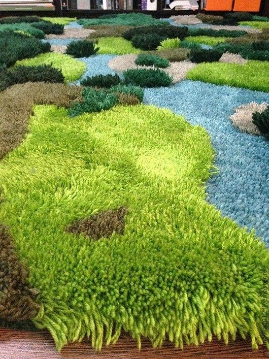 """Текстиль, ковры ручной работы. Ярмарка Мастеров - ручная работа. Купить ковёр ручной работы """"Тайга"""". Handmade. Тёмно-зелёный"""