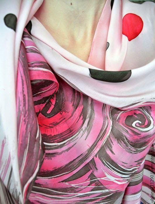 """Шарфы и шарфики ручной работы. Ярмарка Мастеров - ручная работа. Купить Продан Скидка 20%  """"Глинтвейн"""" Шелковый шарф батик. Handmade."""