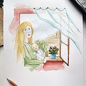 Картины и панно ручной работы. Ярмарка Мастеров - ручная работа Мама рядом.... Handmade.
