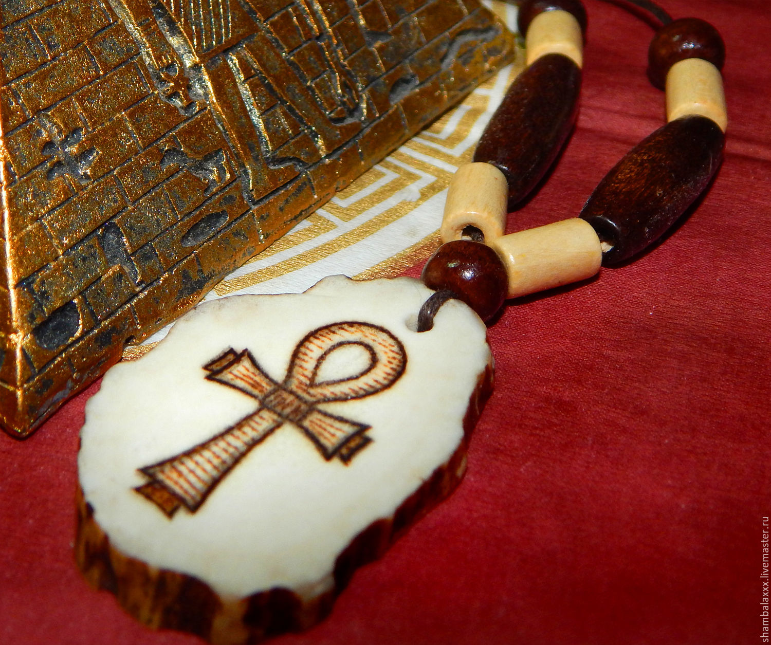 Amulet Cross Of Ankh Egyptian Symbol Elk Horn Pyrography Shop