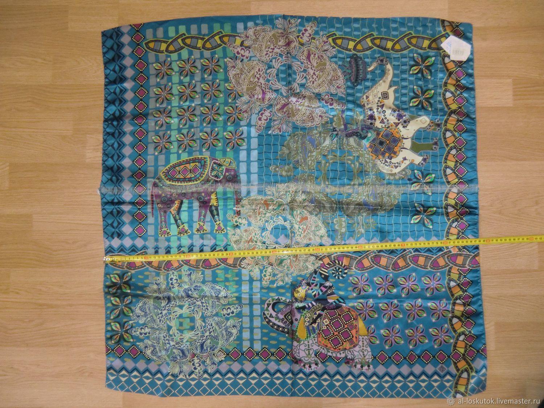 10386 три лоскута Павловопосадского платка 89 атлас, Ткани, Королев,  Фото №1