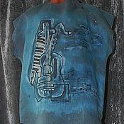 """Одежда ручной работы. Ярмарка Мастеров - ручная работа Рубашка мужская """"Музыка"""" на сером льне. Handmade."""