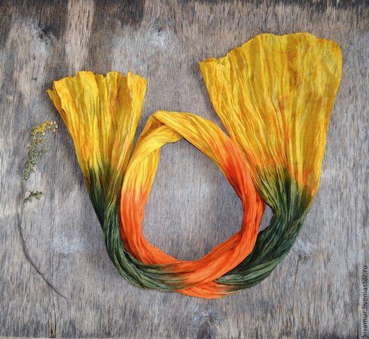 Шарфы и шарфики ручной работы. Ярмарка Мастеров - ручная работа. Купить шарф женский желто оранжево зелёный шарф шёлк с хлопком. Handmade.