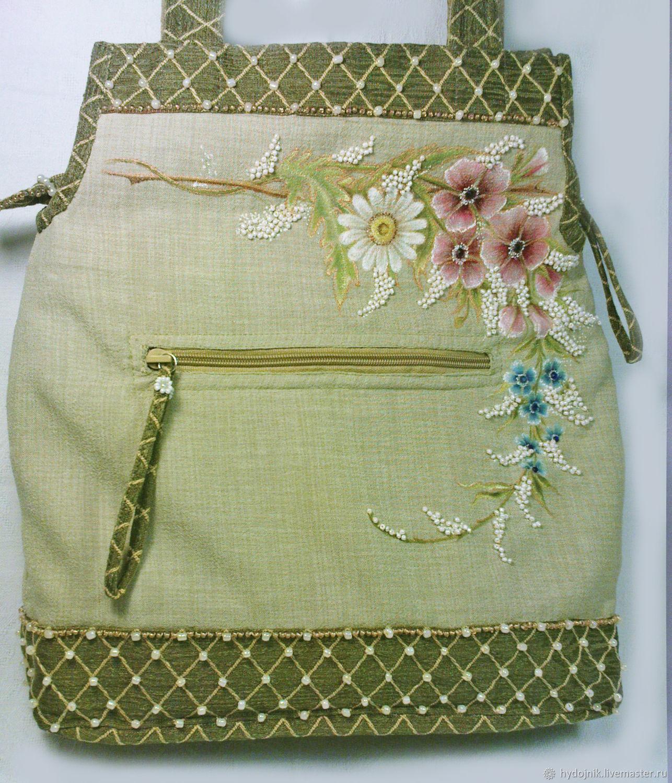 """Льняная сумка с ручной росписью """"Краски лета"""""""