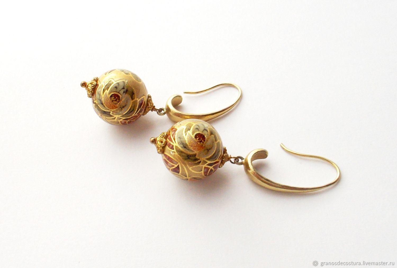Earrings 'Golden peony' beads Tensha, Earrings, Krasnodar,  Фото №1