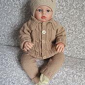 Вязаный костюм детский. Теплый Монолук полукомбинезон+кофточка