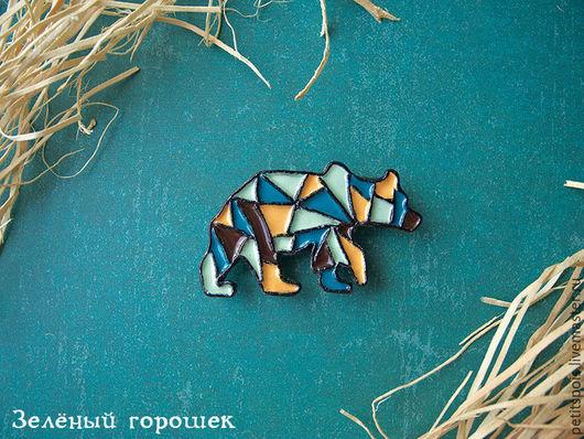 """Броши ручной работы. Ярмарка Мастеров - ручная работа. Купить """"Медведь с блестящей идеей"""" брошь из полимерной глины и эмали. Handmade."""