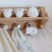 """Для дома и интерьера ручной работы. Ярмарка Мастеров - ручная работа """"Пастораль"""", Настенная открытая деревянная полка на кухню для посуды. Handmade."""