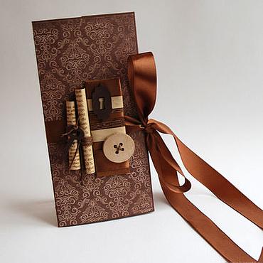 """Открытки ручной работы. Ярмарка Мастеров - ручная работа Конверт коричневый """"Ключ"""". Handmade."""