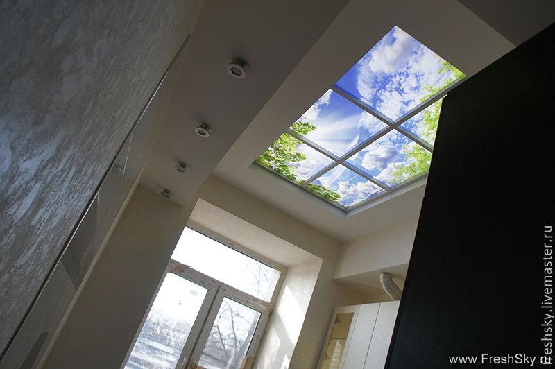 Купить Фальш окно на потолок - Витраж, витражная картина, фотокартина, витражное панно