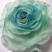 Фен-шуй и эзотерика ручной работы. Ярмарка Мастеров - ручная работа брошь роза голубая мята, из ткани. Handmade.