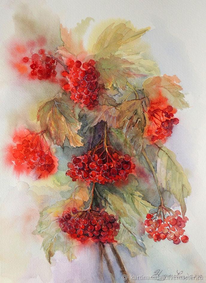 Watercolor 'Kalina' 28H38 cm, Pictures, Kaltan,  Фото №1