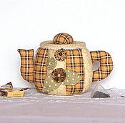 Box handmade. Livemaster - original item Teapot - box in a brown check. Candy bowl, kitchen decoration. Handmade.