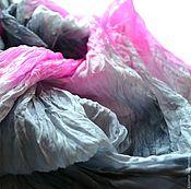 Аксессуары ручной работы. Ярмарка Мастеров - ручная работа серо розовый шелковый шарф ручная окраска, натуральный шёлк. Handmade.