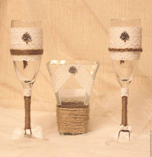 Свадебные аксессуары ручной работы. Ярмарка Мастеров - ручная работа. Купить Свадебный набор в стиле рустик. Handmade. Белый