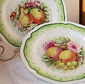 "Тарелка фарфоровая "" Яблоки и груши"""
