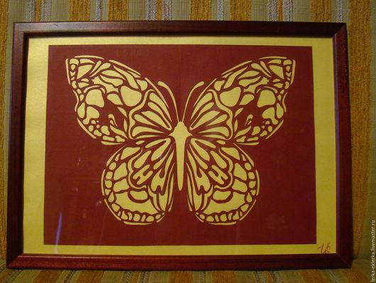 Животные ручной работы. Ярмарка Мастеров - ручная работа. Купить Бабочка Огненно-красная. Handmade. Бордовый, картина, вырезанная картина