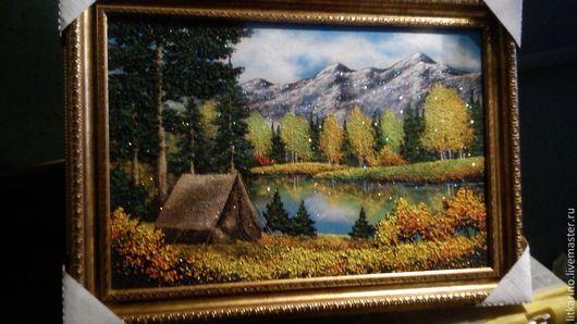 Пейзаж ручной работы. Ярмарка Мастеров - ручная работа. Купить Палатка у озера. Handmade. Бирюзовый, малахит