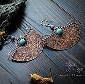 Украшения handmade. Livemaster - original item Large ethnic copper earrings with larimar. Blue, ornament, boho. Handmade.