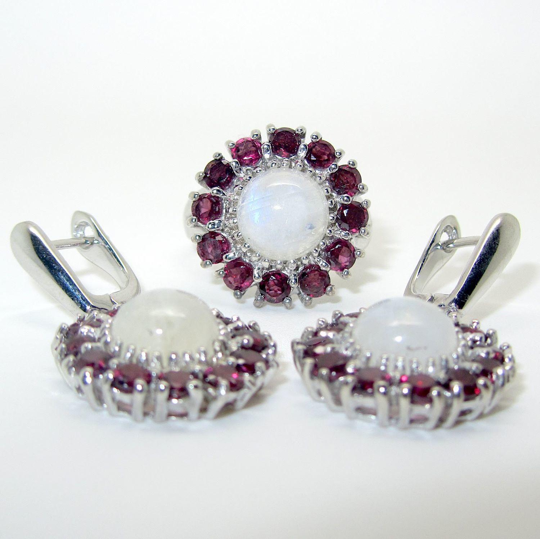 Серьги, кольцо/ серьги, кулон с лунным камнем, родолитом серебряные, Комплекты украшений, Самара,  Фото №1