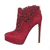 Обувь ручной работы handmade. Livemaster - original item Exquisite Burgundy lace-up booties velour. Handmade.
