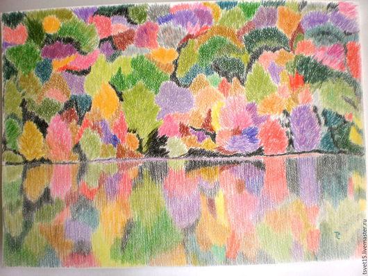 """Пейзаж ручной работы. Ярмарка Мастеров - ручная работа. Купить Картина""""Зеркало осени""""- цветными карандашами.. Handmade. Картина, пастельная бумага"""