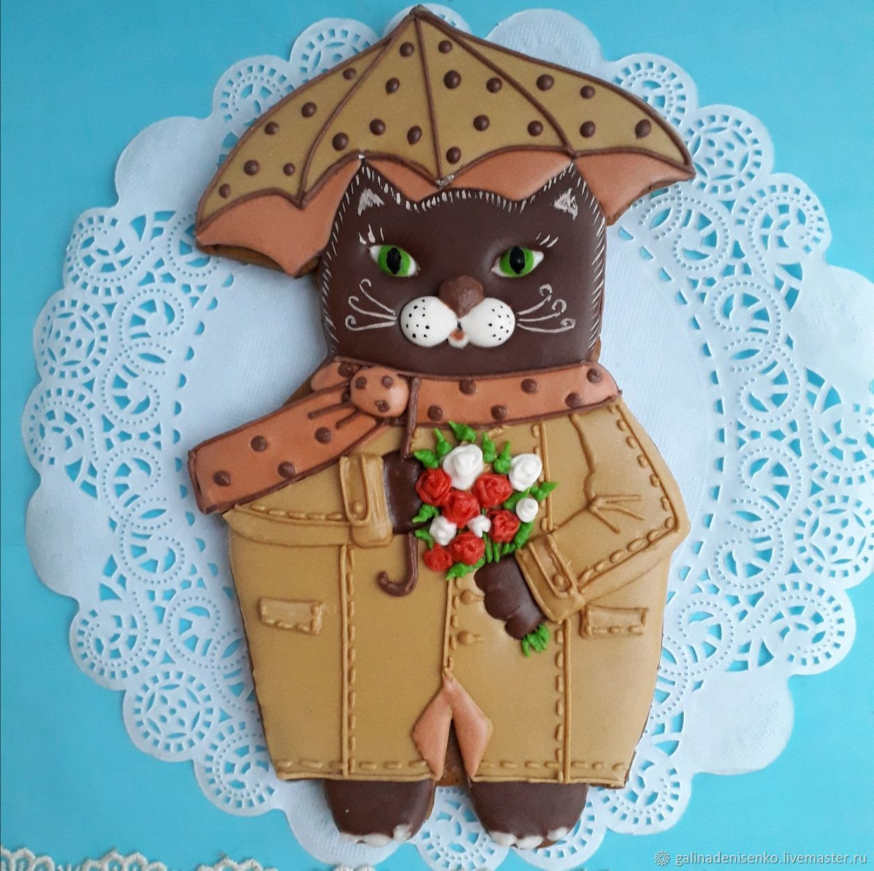 Gingerbread cat with a bouquet of roses under the umbrella. The carrot on March 8,, Gingerbread Cookies Set, Rostov-on-Don,  Фото №1