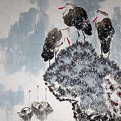 Картины и панно ручной работы. Ярмарка Мастеров - ручная работа акварельВесна( птицы снег вода китайская живопись туман). Handmade.